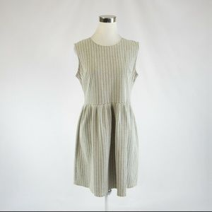 Ann Taylor LOFT olive green ivory A-line dress 8